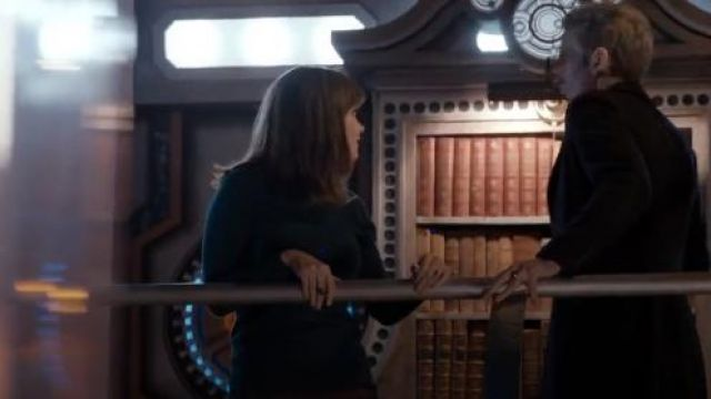 Oasis Faux Leather Collar Jumper outfit seen on Clara (Jenna Coleman) in Doctor Who (S08E03) - TV Show Outfits and Products