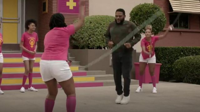 Off White Men's Camo Diagonal Arrows Long Sleeve T Shirt outfit worn by Andre 'Dre' Johnson (Anthony Anderson) in black-ish Season 6 Episode 3 - TV Show Outfits and Products