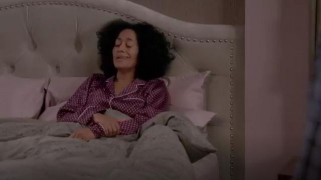 Olivia Von Halle Lila Print Silk Pajamas outfit worn by Andre 'Dre' Johnson (Anthony Anderson) in black-ish (Season 01 Episode 12) - TV Show Outfits and Products