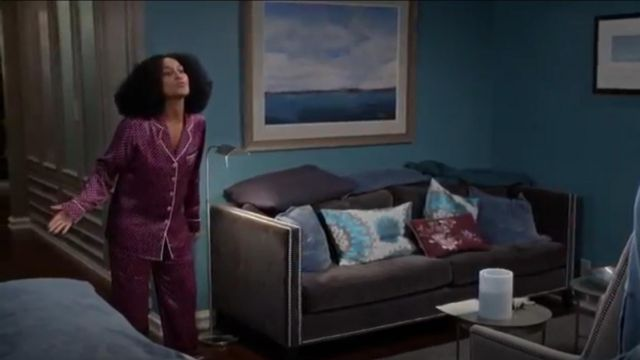 Olivia Von Halle Lila Print Silk Pajamas outfit worn by Rainbow Johnson (Tracee Ellis Ross) in black-ish (S02E10) - TV Show Outfits and Products