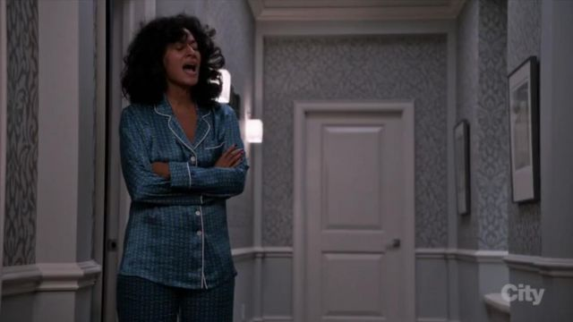 Olivia Von Halle Printed Silk Pajamas In Valentina outfit worn by Rainbow Johnson (Tracee Ellis Ross) in black-ish (S02E12) - TV Show Outfits and Products