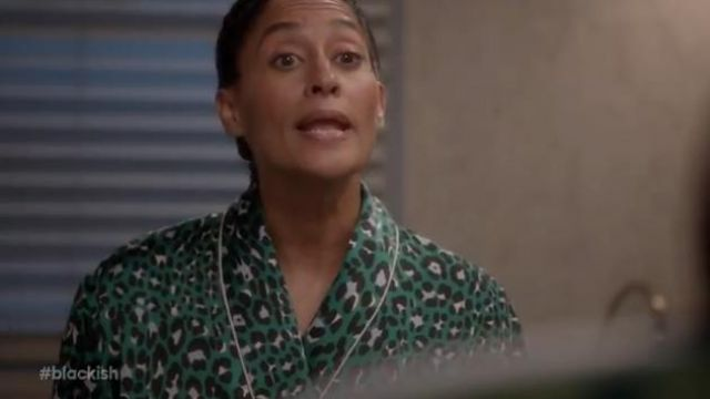 Olivia von Halle Capability danger Leopard-print long silk robe outfit worn by Rainbow Johnson (Tracee Ellis Ross) in black-ish Season 6 Episode 2 - TV Show Outfits and Products
