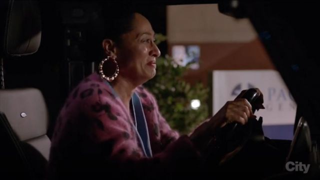 Opening Ceremony Leopard Print Cardigan outfit worn by Rainbow Johnson (Tracee Ellis Ross) in black-ish (Season 03 Episode 13) - TV Show Outfits and Products
