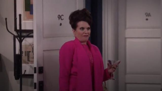 Oscar De La Renta Draped brushed wool and cashmere-blend coat outfit worn by Karen Walker (Megan Mullally) in Will & Grace (S02E14) - TV Show Outfits and Products