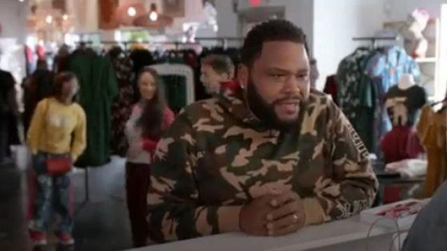 Ovadia & Sons Camo Printed Sunset Park Sweater outfit worn by Andre 'Dre' Johnson (Anthony Anderson) in black-ish Seaso 06 Episode 07 - TV Show Outfits and Products