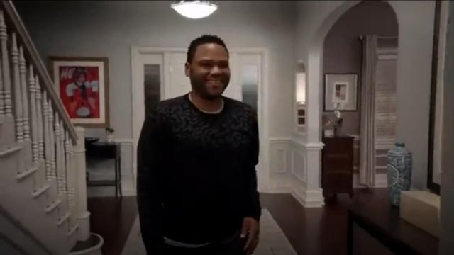 Ovadia & Sons Leopard Crewneck Merino Wool Sweater outfit worn by Andre 'Dre' Johnson (Anthony Anderson) in black-ish (Season03 Episode09) - TV Show Outfits and Products