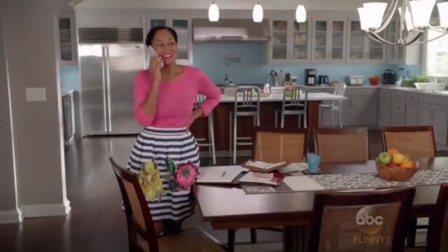 P.A.R.O.S.H. Floral Embellished Striped Skirt outfit worn by Rainbow Johnson (Tracee Ellis Ross) in black-ish (S02E01) - TV Show Outfits and Products