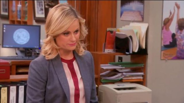 PJK Patterson J. Kincaid Contrast Trim Shirt outfit worn by Leslie Knope (Amy Poehler) in Parks and Recreation (S05E18) (S05E18) - TV Show Outfits and Products