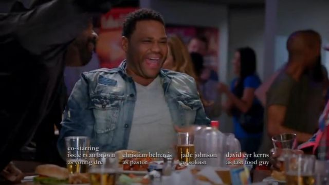 PRPS Patchwork Denim Jacket outfit worn by Andre 'Dre' Johnson (Anthony Anderson) in black-ish (Season 03 Episode 15) - TV Show Outfits and Products