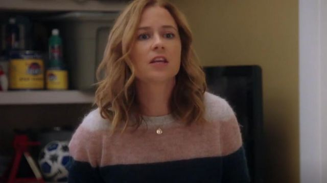 Fashion Trends 2021: Pam & Gela Long Sleeve Striped Alpaca Blend Sweater outfit seen on Lena (Jenna Fischer) in Splitting Up Together (S01E02)