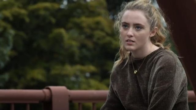 Paris Sunday Oversized Chenille Crewneck Sweater outfit worn by Allie Pressman (Kathryn Newton) in The Society (S01E01) - TV Show Outfits and Products