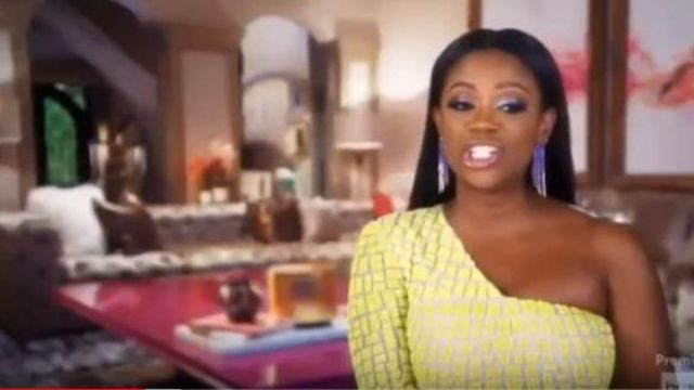 Peace + love Yellow and White print Dress outfit worn by Herself - Housewife (Kandi Burruss) in The Real Housewives of Atlanta Season 12 Episode 01 - TV Show Outfits and Products