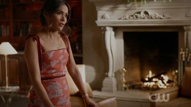 Peach Pink Floral Dress outfit worn by Cristal Jennings (Daniella Alonso) in Dynasty Season 03 Episode 06 - TV Show Outfits and Products