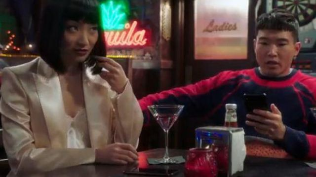Philosophy Di Lorenzo Serafini Satin Blazer outfit worn by Mei Lin (Poppy Liu) in Sunnyside Season 01 Episode 07 - TV Show Outfits and Products