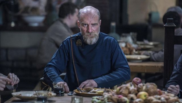 Pin dragon of Odda the Elder (Simon Kunz) seen in The Last Kingdom Season 2 Episode 3 - TV Show Outfits and Products