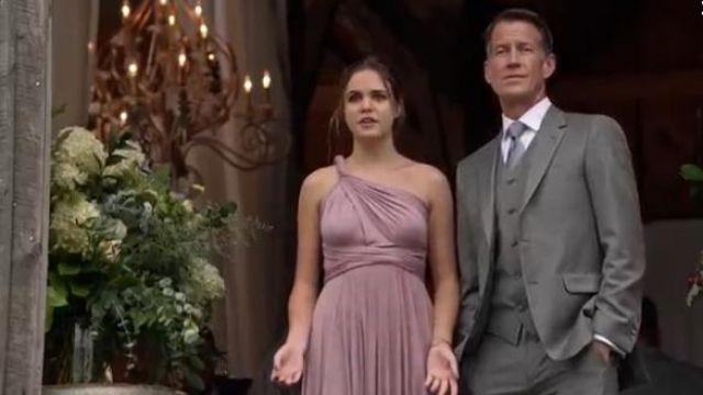 Pink Convertible Wrap Tie Surplice Jersey Gown in Suede Rose outfit worn by Grace Russell (Bailee Madison) in Good Witch (Season05 Episode02) - TV Show Outfits and Products