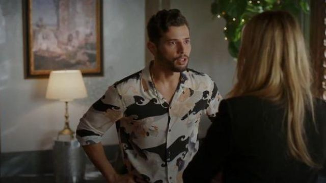 Pink and Black Wave Print Shirt outfit worn by Sam Jones (Rafael de la Fuente) in Dynasty Season 03 Episode 06 - TV Show Outfits and Products