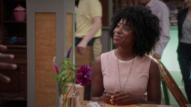 Fashion Trends 2021: Pink dress Theory carried by Simone Garnett (Kirby Howell-Baptiste) seen in The Good Place Season 3 Episode 5