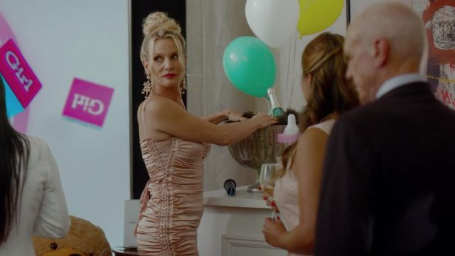 Pink dress in satin and lace Dolce & Gabbana outfit worn by Alexis Carrington (Nicollette Sheridan) seen in Dynasty Season 2 Episode 3 - TV Show Outfits and Products