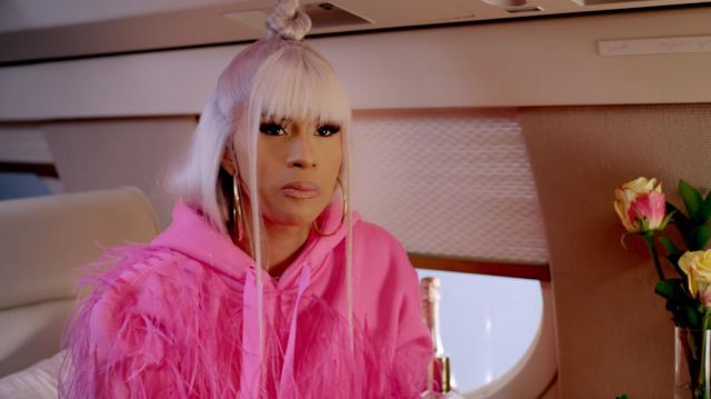 Pink fringe hoodie outfit worn by Cardi B in Rhythm + Flow (S01E02) - TV Show Outfits and Products
