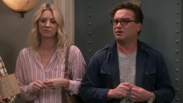 Pink shirt with stripes of Penny (Kaley Cuoco) seen in the Big Bang Theory S12 Episode 1 - TV Show Outfits and Products