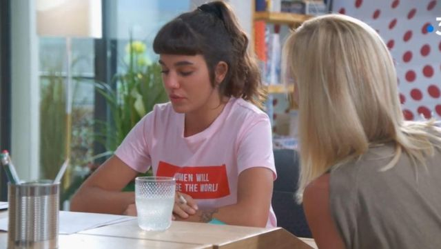 """Pink t-shirt """"Women will change the world"""" Cherry (Charlotte Forlay) seen in Plus belle la vie (S10) - TV Show Outfits and Products"""