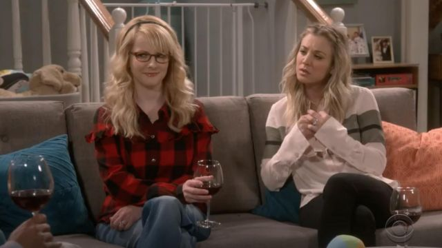 Plaid shirt Frame outfit worn by Bernadette Rostenkowski (Melissa Rauch) The Big Bang Theory S12 Episode 7 - TV Show Outfits and Products