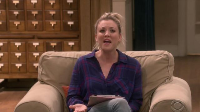 Plaid shirt purple Rails laid by Penny (Kaley Cuoco) seen in The Big Bang Theory S12 Episode 3 - TV Show Outfits and Products