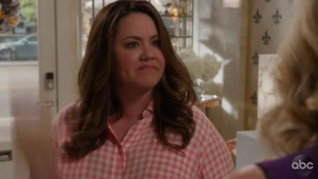 Plaid shirt red Katie Otto (Katy Mixon) seen in American Housewife (Season 3 Episode 4) - TV Show Outfits and Products