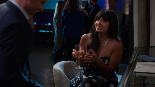Polka dot dress blue Ms. Al-Jamil (Jameela Jamil) seen in The Good Place (Season 3 Episode 3) - TV Show Outfits and Products
