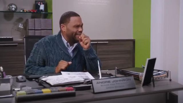 Polo Ralph Lauren Cotton Shawl Cardigan outfit worn by Andre 'Dre' Johnson (Anthony Anderson) in black-ish (S02E09) - TV Show Outfits and Products