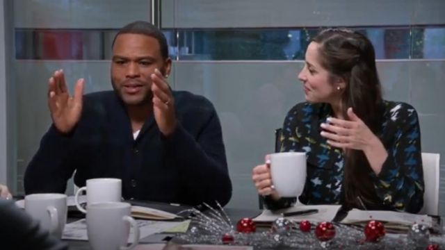 Polo Ralph Lauren Wool Shawl Collar Cardigan Sweater outfit worn by Andre 'Dre' Johnson (Anthony Anderson) in black-ish (S02E10) - TV Show Outfits and Products