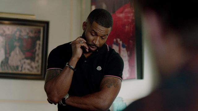 Polo black Moncler outfit worn by Jeff Colby (Sam Adegoke) seen in Dynasty Season 2 Episode 3 - TV Show Outfits and Products