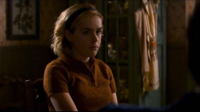 Polo brown Sabrina Spellman (Kiernan Shipka) seen in The New Adventures of Sabrina (Season 1 Episode 9) - TV Show Outfits and Products