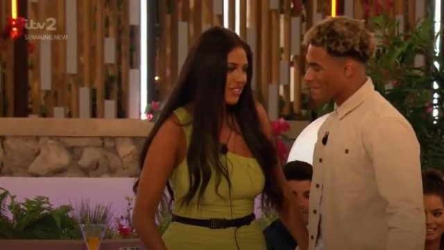 PrettyLittleThing Lime Slinky One Shoulder Ruched Bodycon Dress outfit worn by Anna Valkili in Love Island (S05E15) - TV Show Outfits and Products