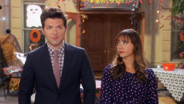 PrettyLittleThing wrap front mini dress in navy polka dot outfit worn by Ann Perkins (Rashida Jones) in Parks and Recreation (S06E07) - TV Show Outfits and Products