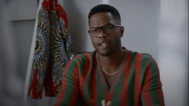 Printed Vneck Sweater outfit worn by Jeff Colby (Sam Adegoke) in Dynasty Season 3 Episode 5 - TV Show Outfits and Products