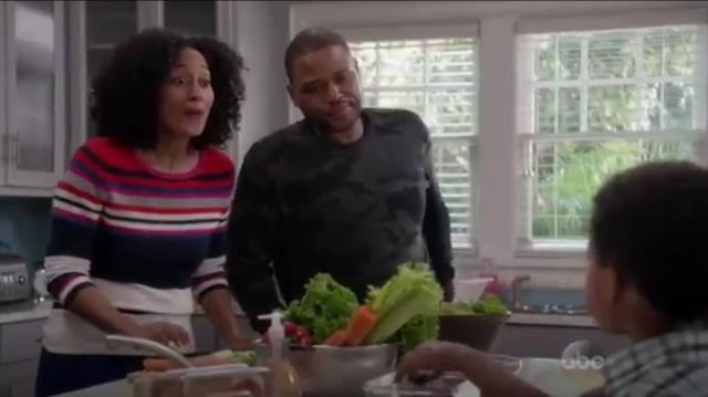 Printed Wool Blend Sweater outfit worn by Rainbow Johnson (Tracee Ellis Ross) in black-ish (Season 01 Episode 11) - TV Show Outfits and Products