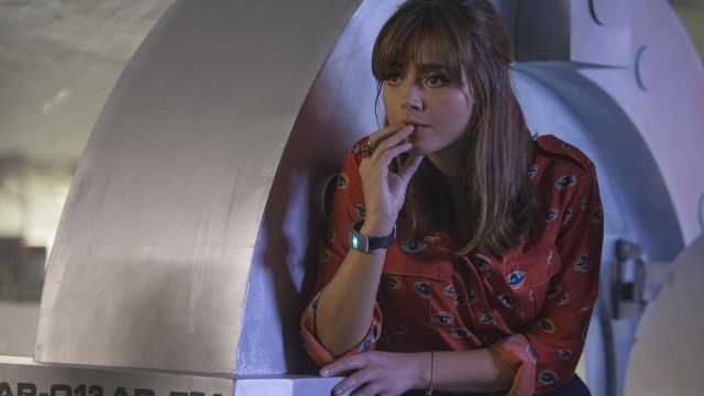 Printed shirt outfit worn by Clara (Jenna Coleman) seen in the Doctor Who Season 8 Episode 2 - TV Show Outfits and Products