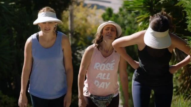 """Fashion Trends 2021: Private Party """"Rosé All Day"""" Jersey Muscle Tee outfit seen on Maya (Diane Farr) in Splitting Up Together (S01E03)"""