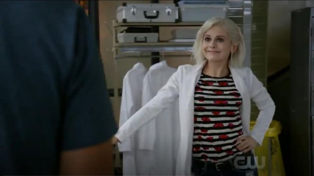 Proenza Schouler Long Sleeve Floral Striped Tee outfit worn by Olivia Moore (Rose McIver) in iZombie (S05E03) - TV Show Outfits and Products