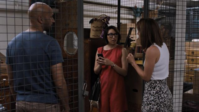 Fashion Trends 2021: Proenza Schouler Printed Silk Skirt with Pleats outfit seen on Lisa Turner (Cobie Smulders) in Friends from College S02E02
