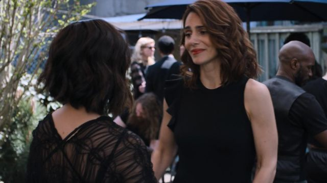 Fashion Trends 2021: Proenza Schouler Sleeveless One Shoulder Ruffle Black Dress outfit seen on Sam (Annie Parisse) in Friends from College S02E06