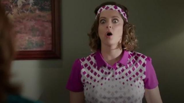 Puma Diamond Graphic Polo outfit seen on Rebecca Bunch (Rachel Bloom) in Crazy Ex-Girlfriend (S02E02)