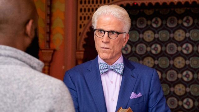 Fashion Trends 2021: Purple Dot Pocket Square outfit seen on Michael (Ted Danson) in The Good Place S03E11