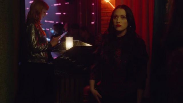 Purple and red blouse outfit worn by Jules (Kat Dennings) as seen in Dollface (Season 1) - TV Show Outfits and Products
