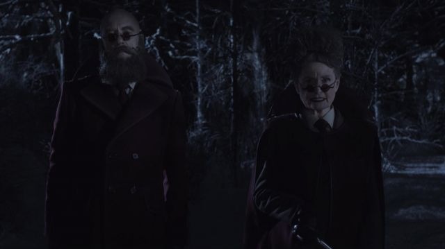 Purple coat outfit worn by Man with Beard But No Hair (Richard E. Grant) as seen in A Series of Unfortunate Events S03E01 - TV Show Outfits and Products