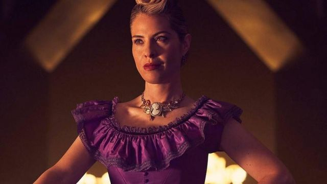 Purple dress of Coco St. Peter Vanderbilt (Leslie Grossman) seen in American Horror Story Revelation (Season 8) - TV Show Outfits and Products