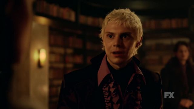 Purple shirt of Mr. Gallant (Evan Peters) seen in American Horror Story Revelation (Season 8) - TV Show Outfits and Products