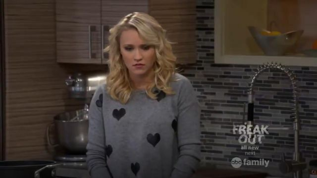 Quotation Gray Leather Heart Cashmere Sweater outfit worn by Gabi Diamond (Emily Osment) in Young & Hungry (S02E02) - TV Show Outfits and Products